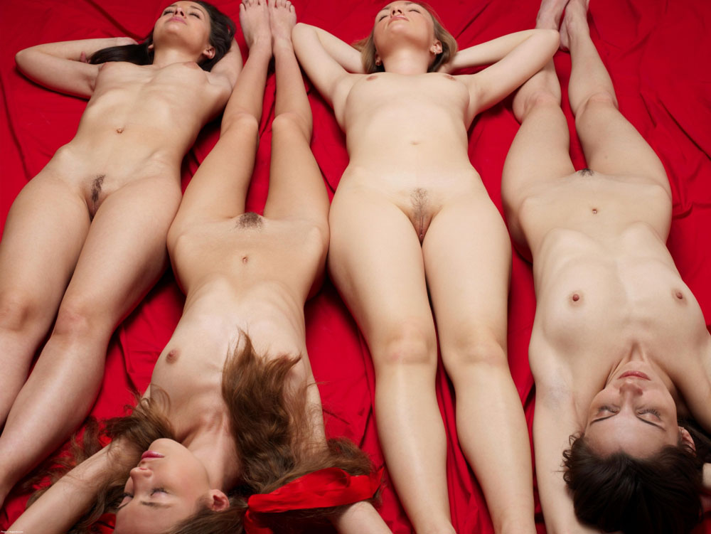 Four naked girls sleeping after party