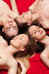 four naked sleeping girls